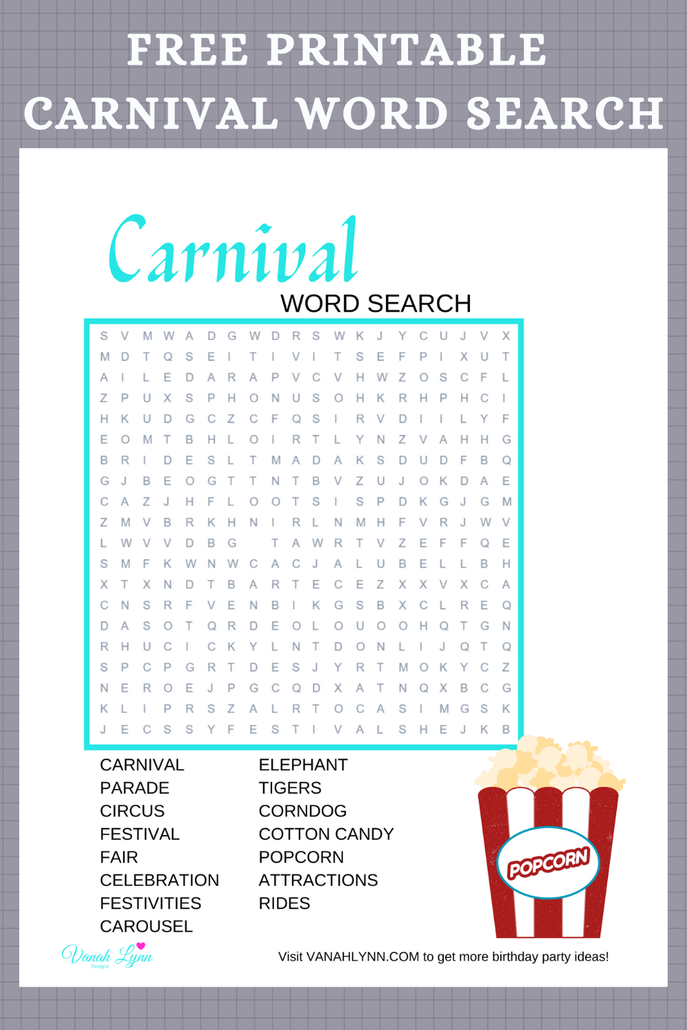 carnival themed word search, kids birthday party