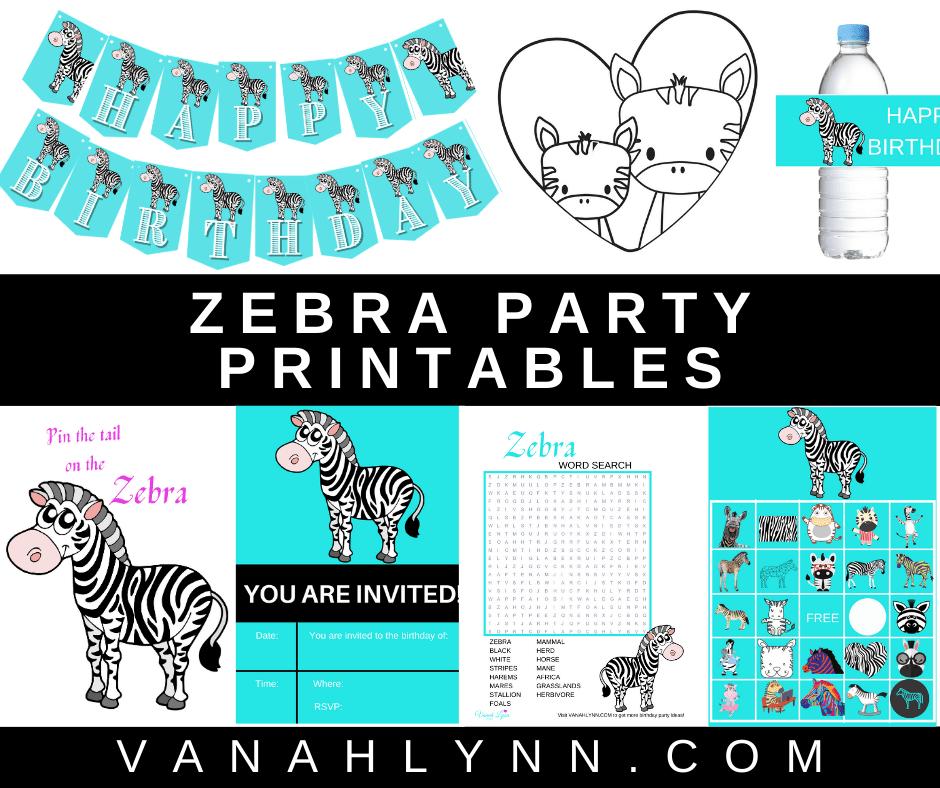 zebra birthday party theme printables