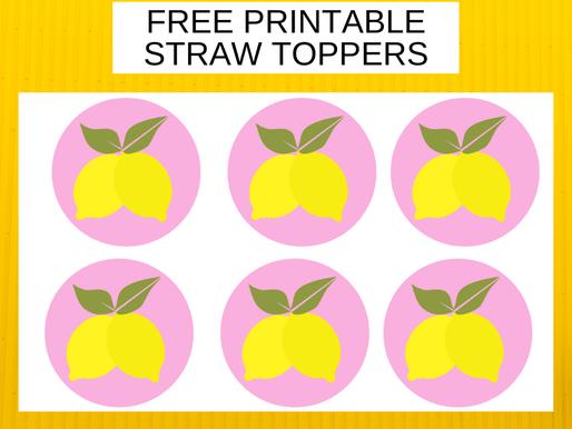 Lemonade Birthday Party Decorations - FREE Printable Lemon Straw Toppers