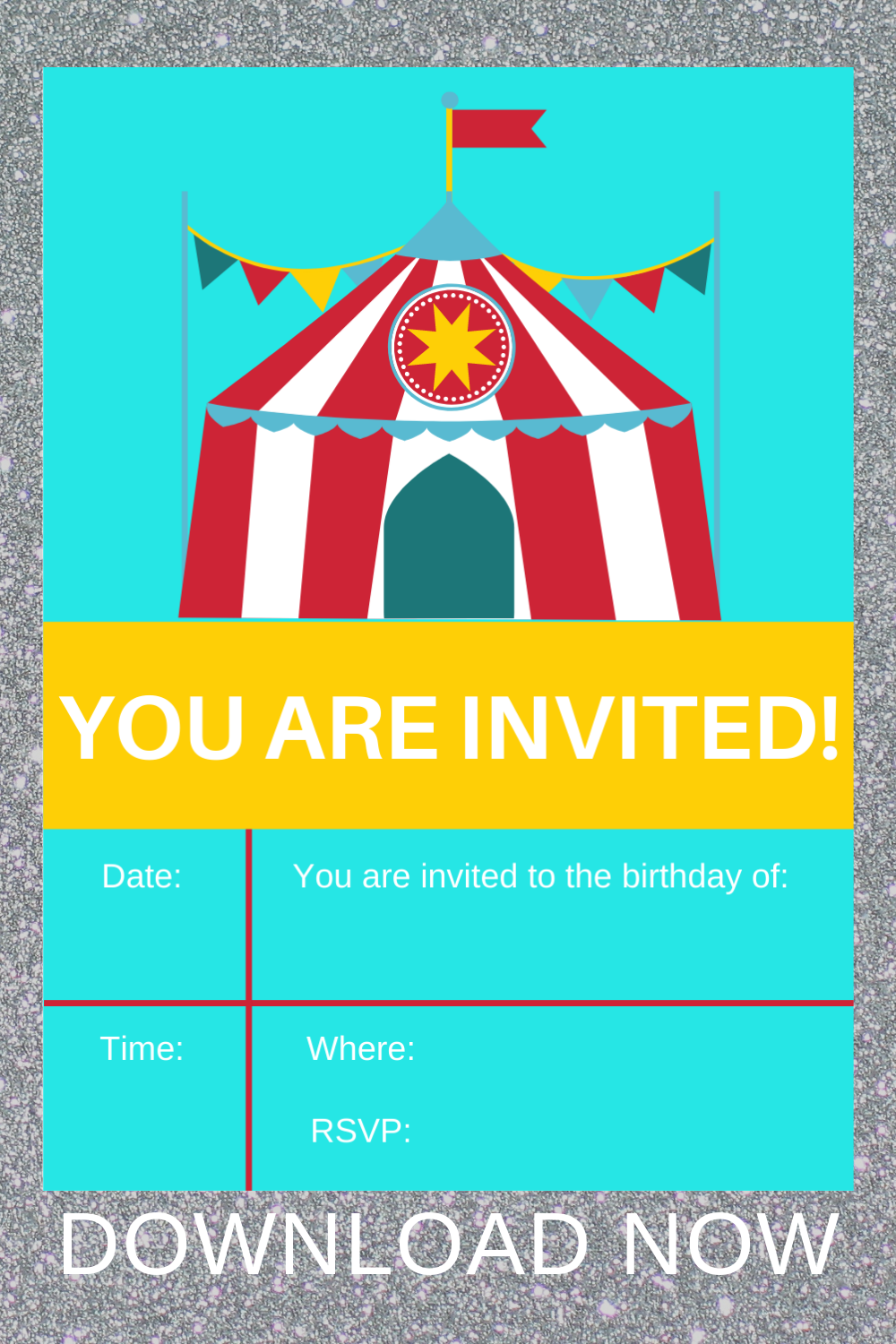 1st birthday circus, party invitation for a toddler