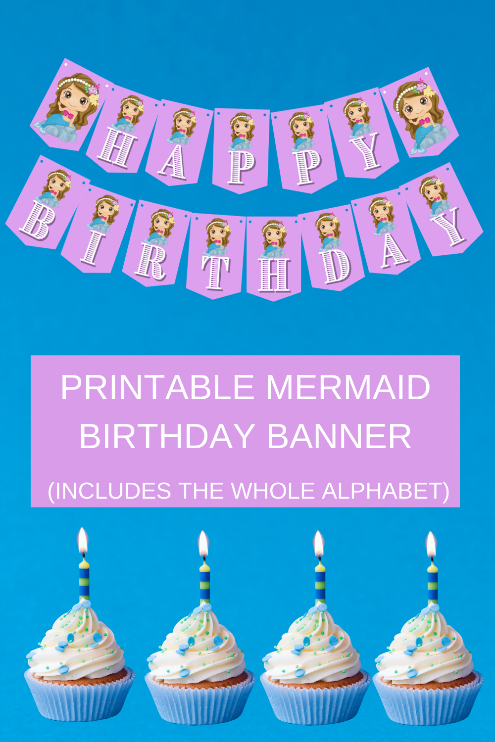 lavender mermaid birthday party banner and décor