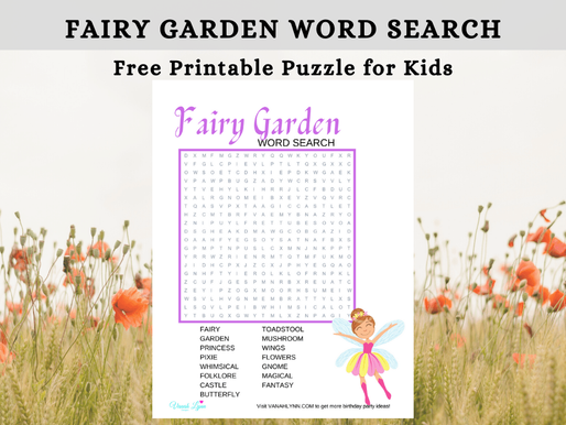 FREE Fairy Garden Word Search For Kids
