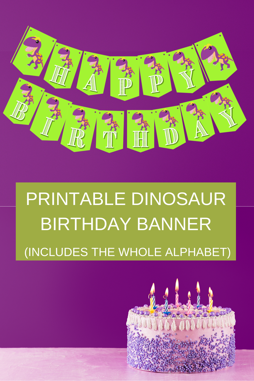 Green and purple dinosaur party décor