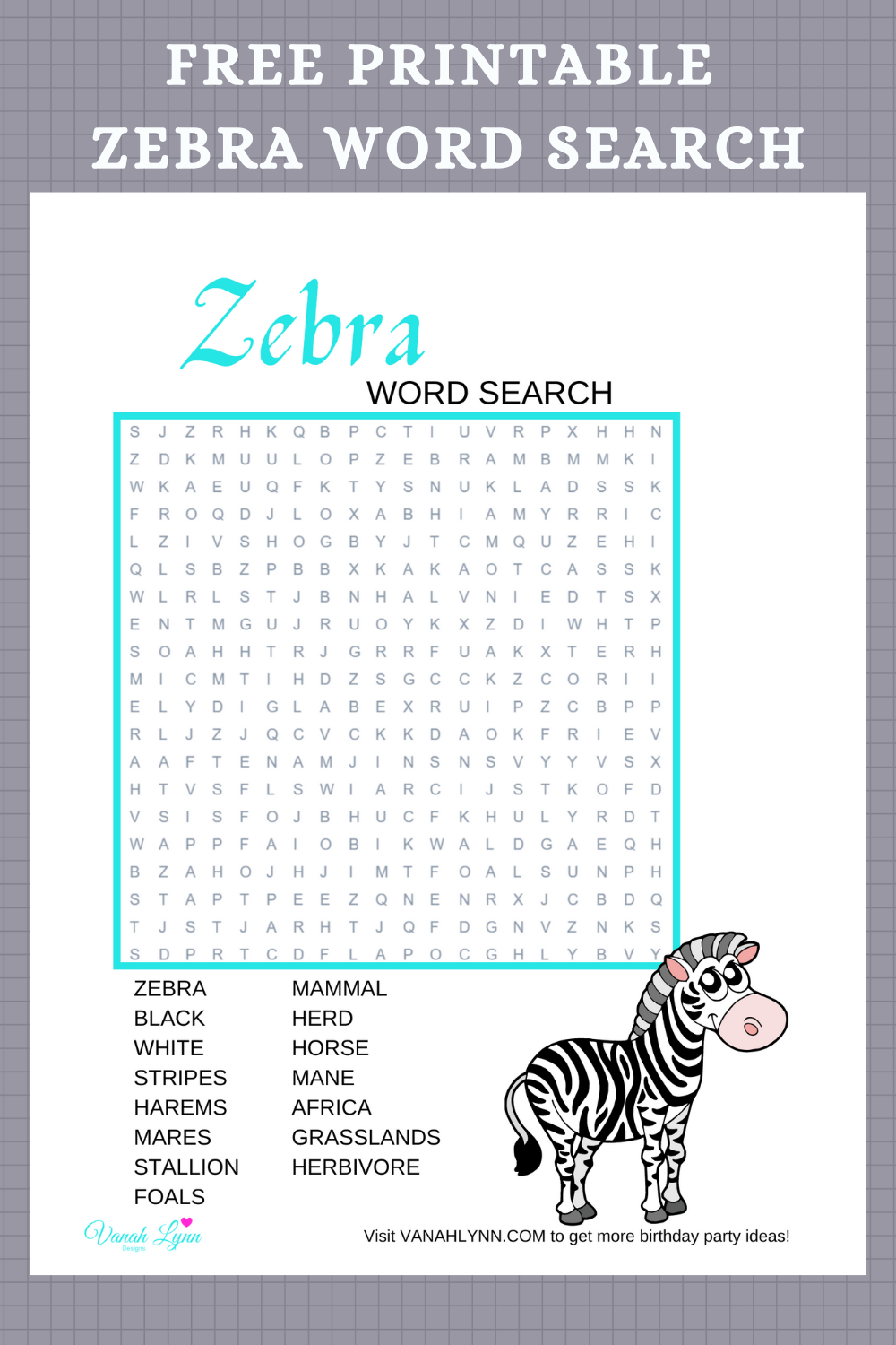 zebra activity sheet for a kids birthday party