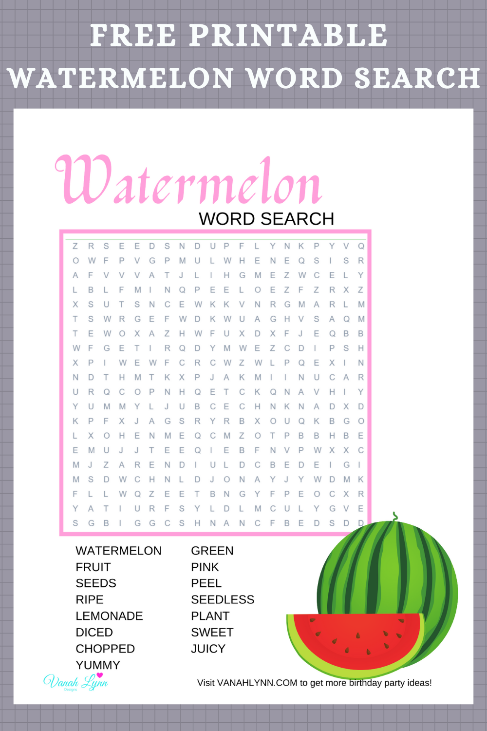 free printable watermelon word find for little girl's birthday party