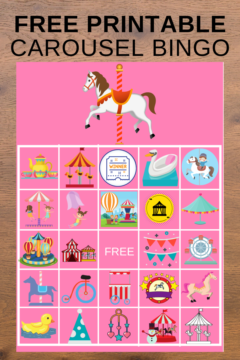 free printable carousel bingo game activity for preshoolers