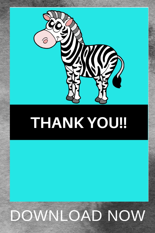 1st birthday girl zebra birthday party, thank you note