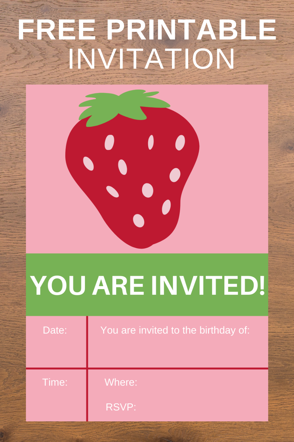 free download: strawberry themed first birthday invite card