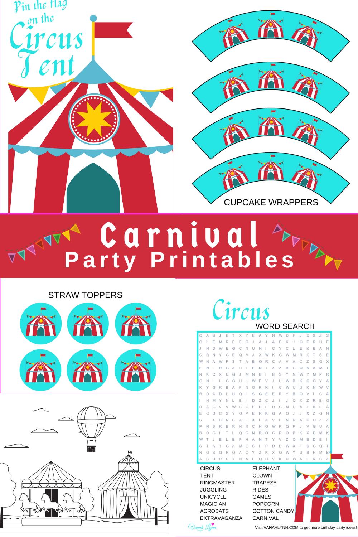 circus 1st birthday party free printable kit