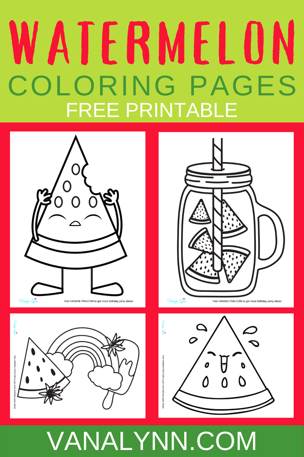 free download watermelon birthday party activity ideas