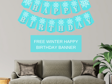 Winter Themed Happy Birthday Banner and Snowflake Alphabet Banner | Winter Themed Party Decorations