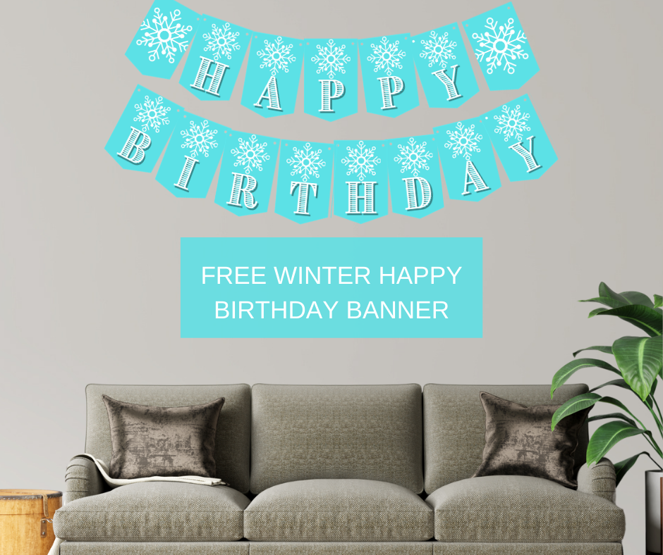 winter themed happy birthday banner