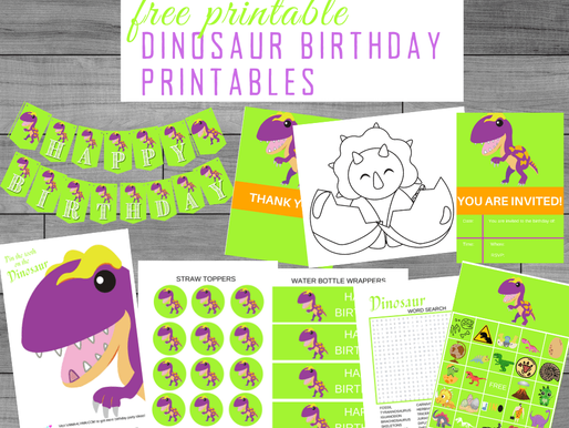 FREE Dinosaur Birthday Theme Party Printables - for the perfect at-home birthday party!!