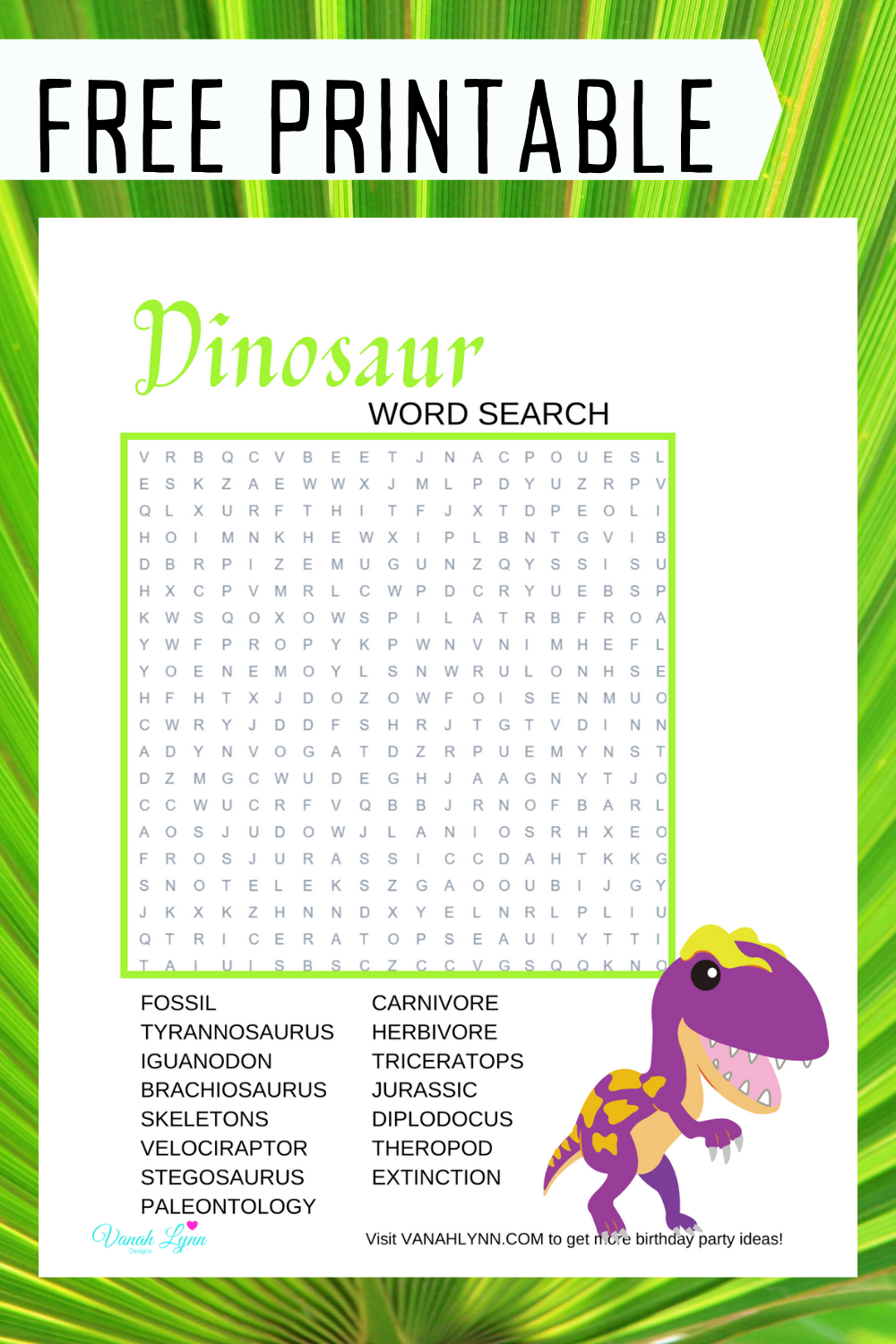 dinosaur themed word search for a kids birthday party