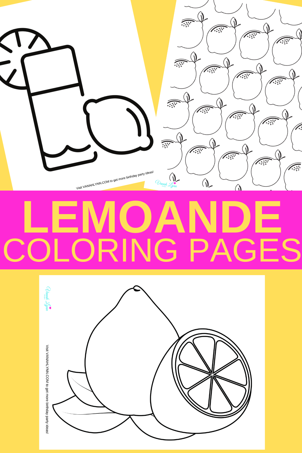 free printable coloring pages: Lemonade themed