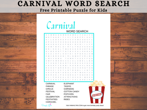 Carnival Word Search | Free Printable Carnival Themed Activity Sheet for Kids | Carnival Word Find
