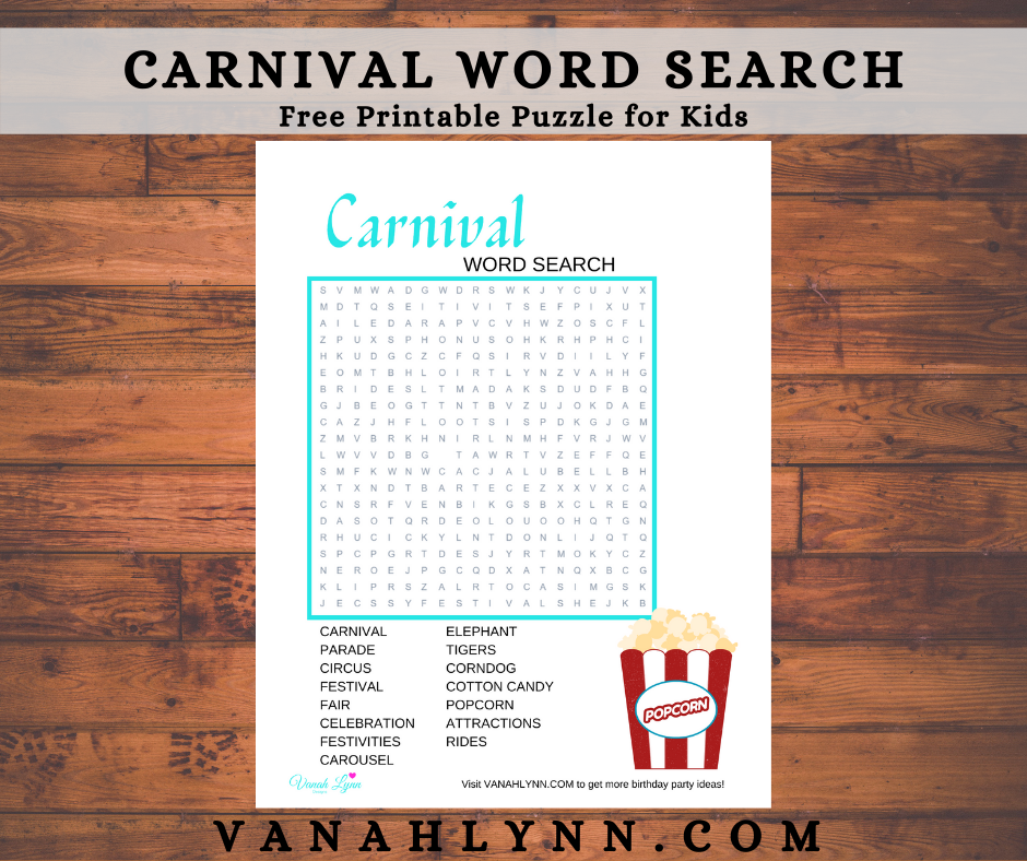 carnival word search for a kids birthday party