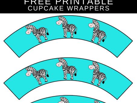 Zebra Cupcake Wrappers | Free Printable Zebra Themed Party Decorations | Zebra Birthday Party Ideas