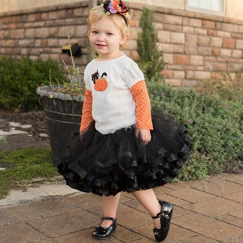 black tutu skirt on toddler girl