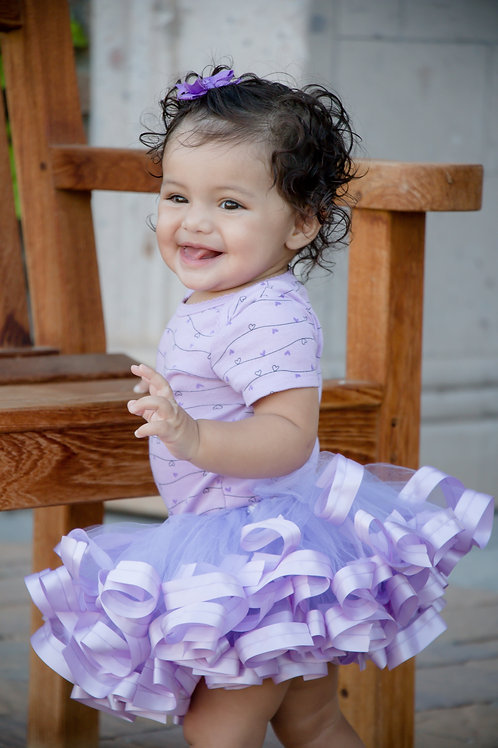 lavender tutu skirt on baby girl