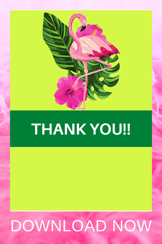 1st birthday flamingo birthday party thank you card