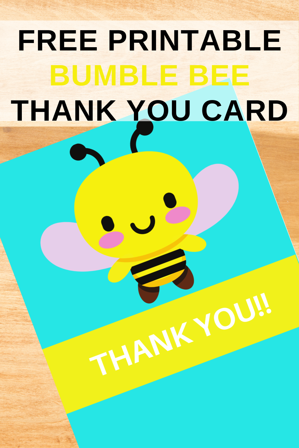 free printable bumble bee birthday party thank you card
