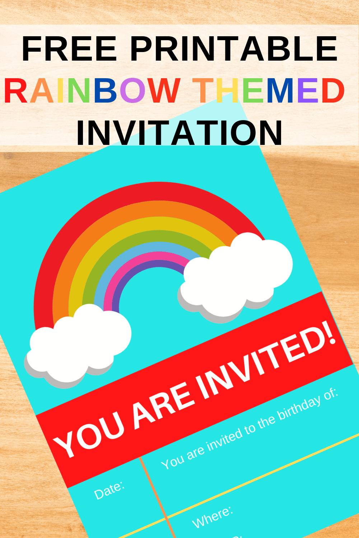 rainbow themed birthday party invitations