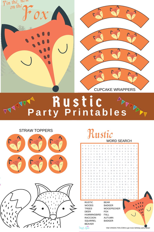 rustic birthday theme printables