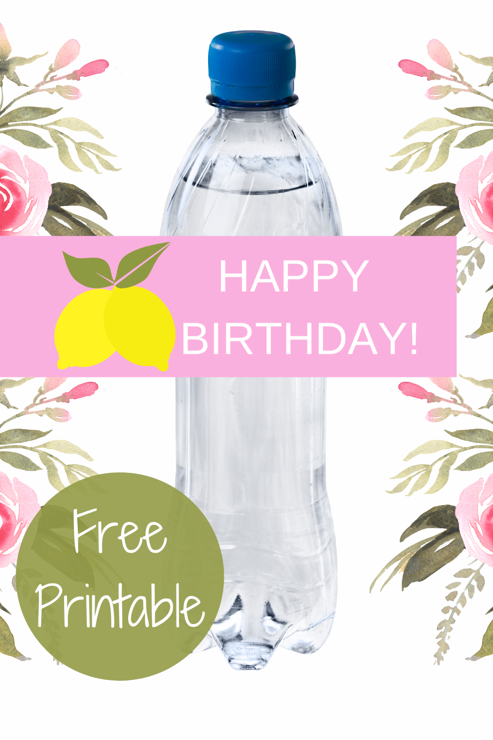free download: lemon water bottle label for girls birthday party