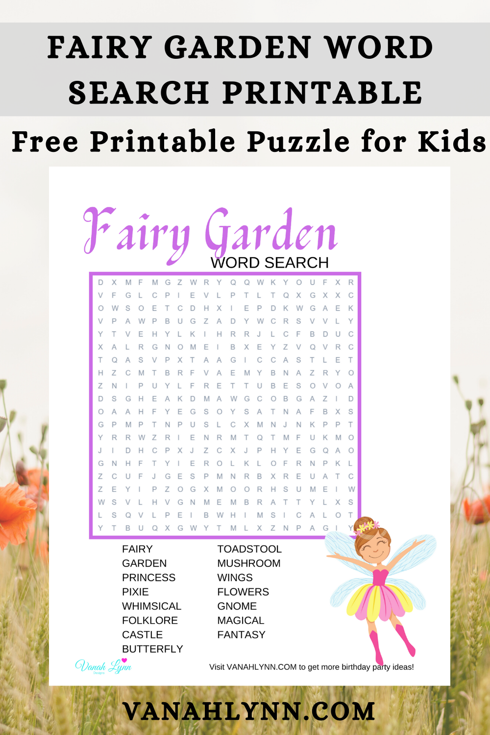 fairy garden activity pages for a kids birthday party