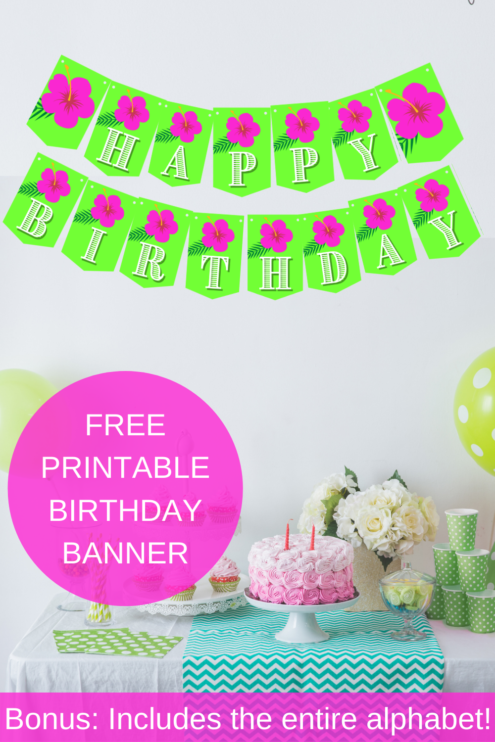 pink and green banner with a tropical flower on it for a birthday party