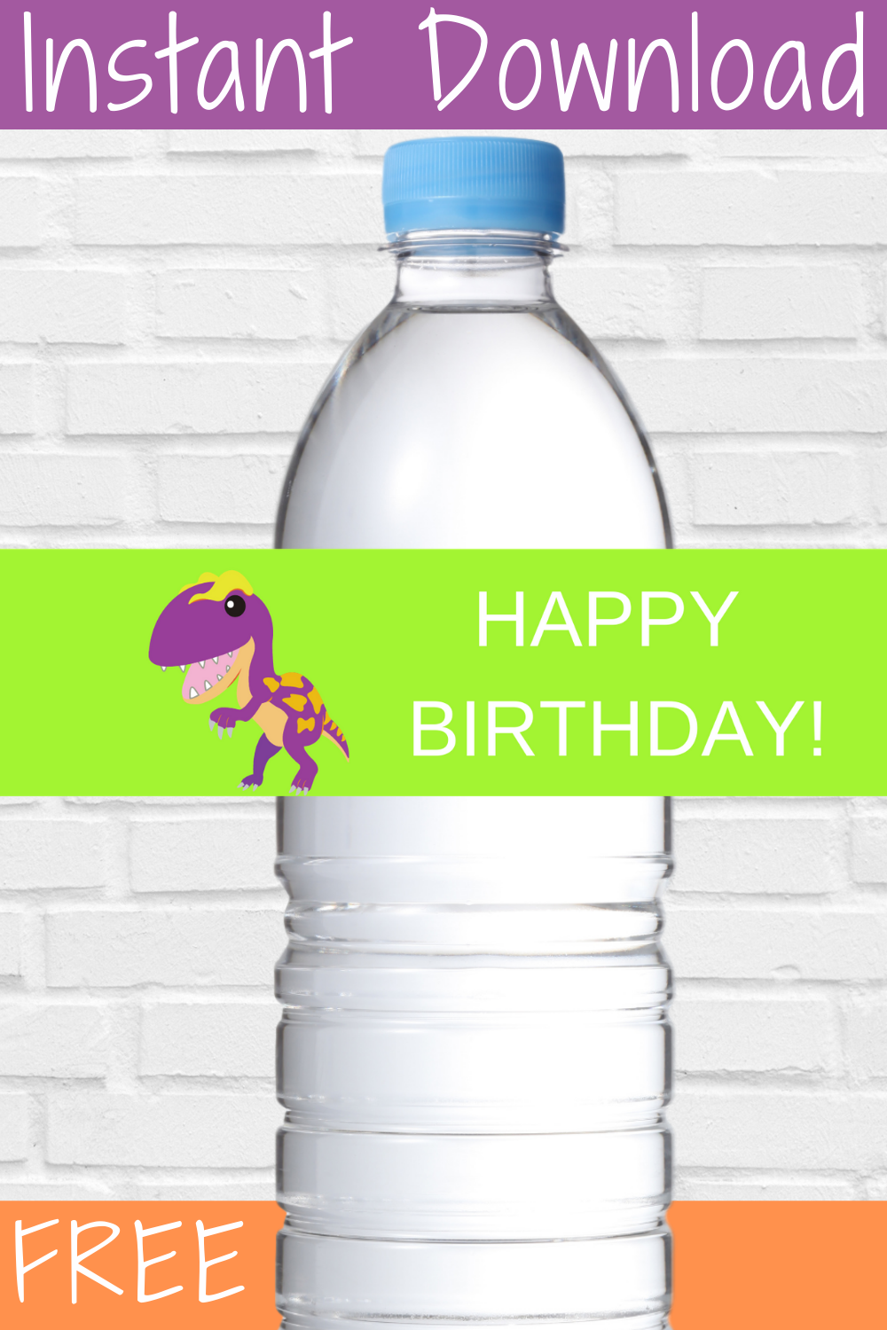 free download: dinosaur birthday party water bottle wrapper
