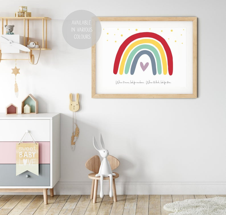 Rainbow print wall handing for baby girl