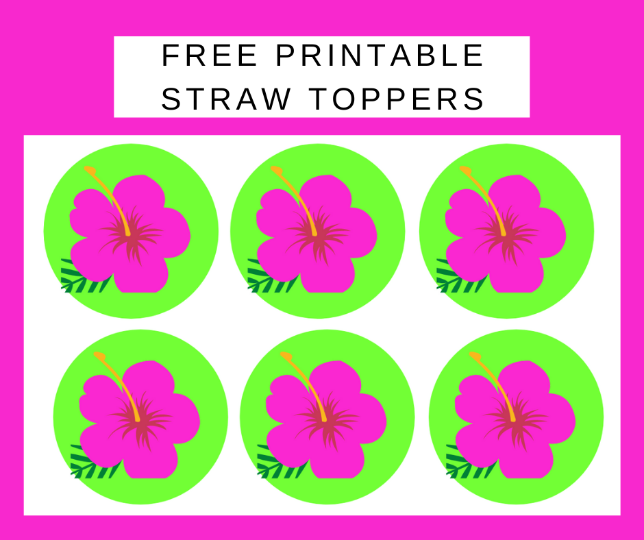 tropical straw toppers for a kids birthday party