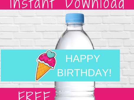 Ice Cream Water Bottle Label | Free Printable Ice Cream Birthday Party Ideas | DIY Party Decorations
