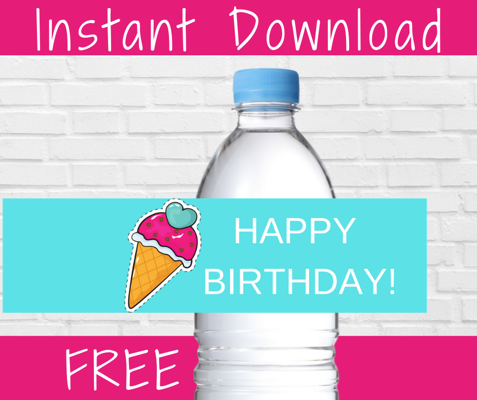ice cream water bottle label for a kids birthday party