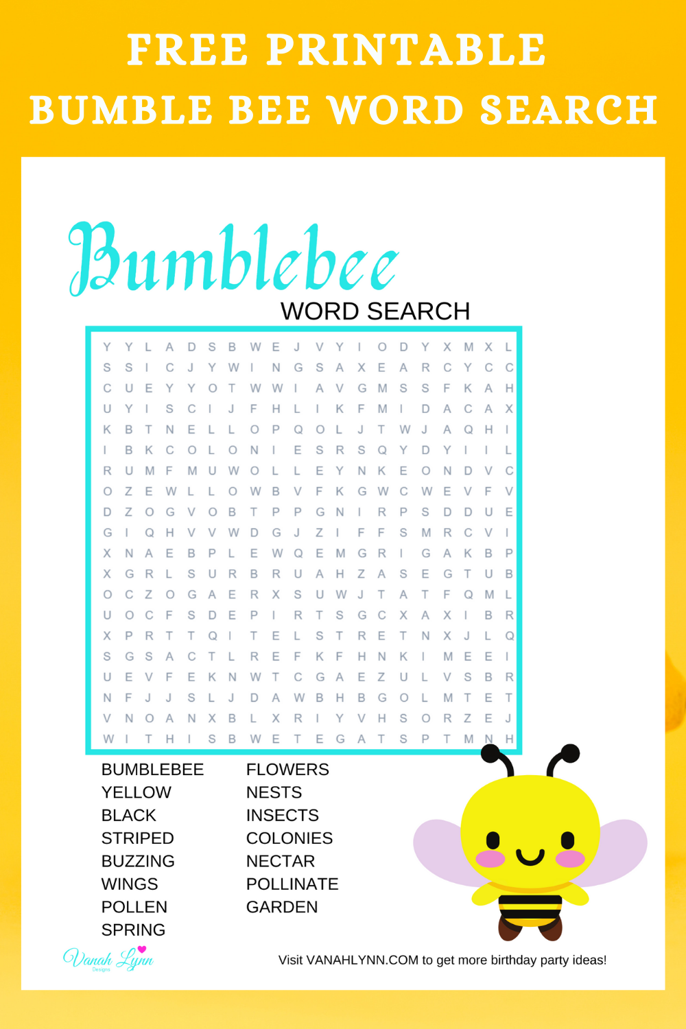 free download: bumble bee birthday party activity ideas