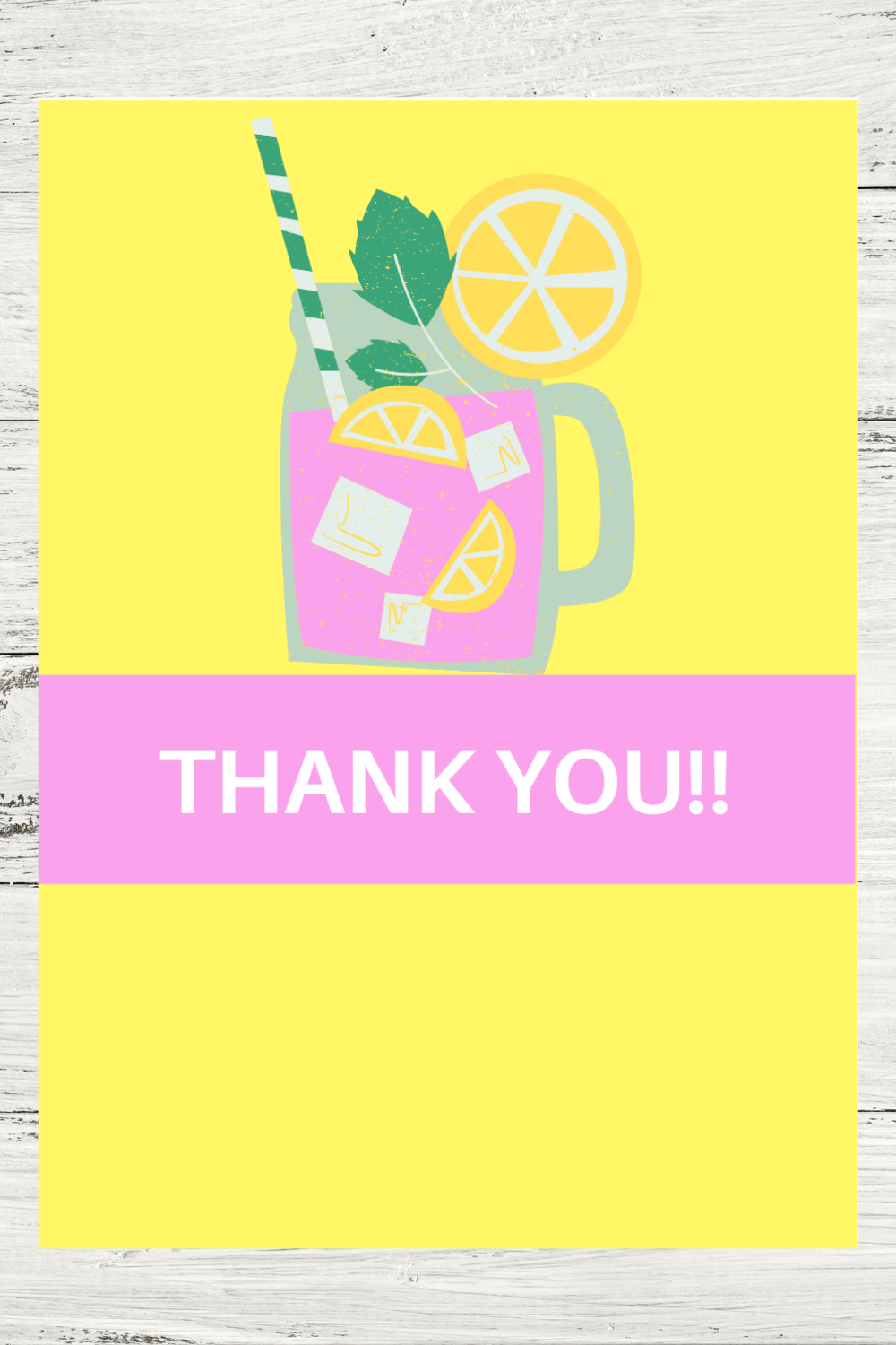 free printable pink lemonade thank you card for toddlers