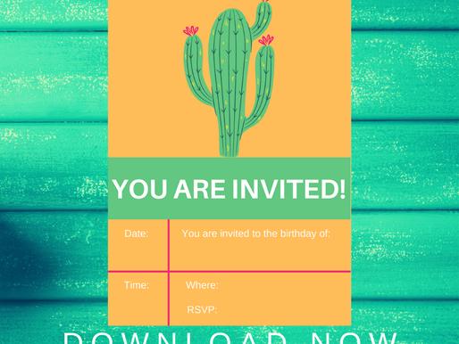 Fiesta Invite | Free Printable Cactus Invitation | Fiesta Themed Birthday Party Ideas | 1st Birthday