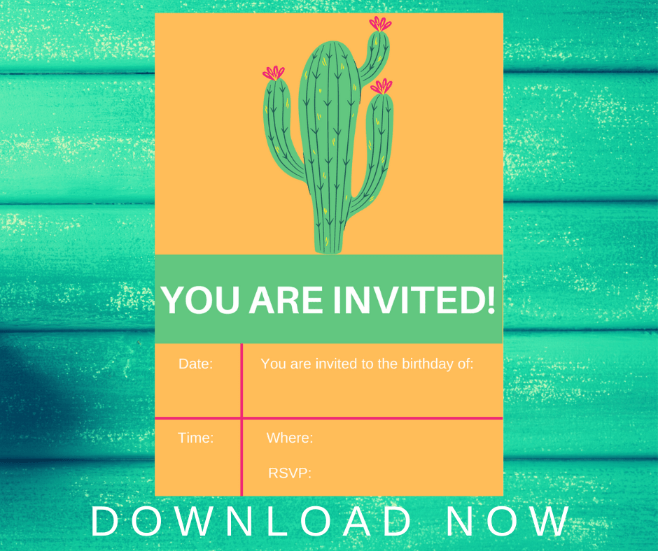 cactus invitations birthday party