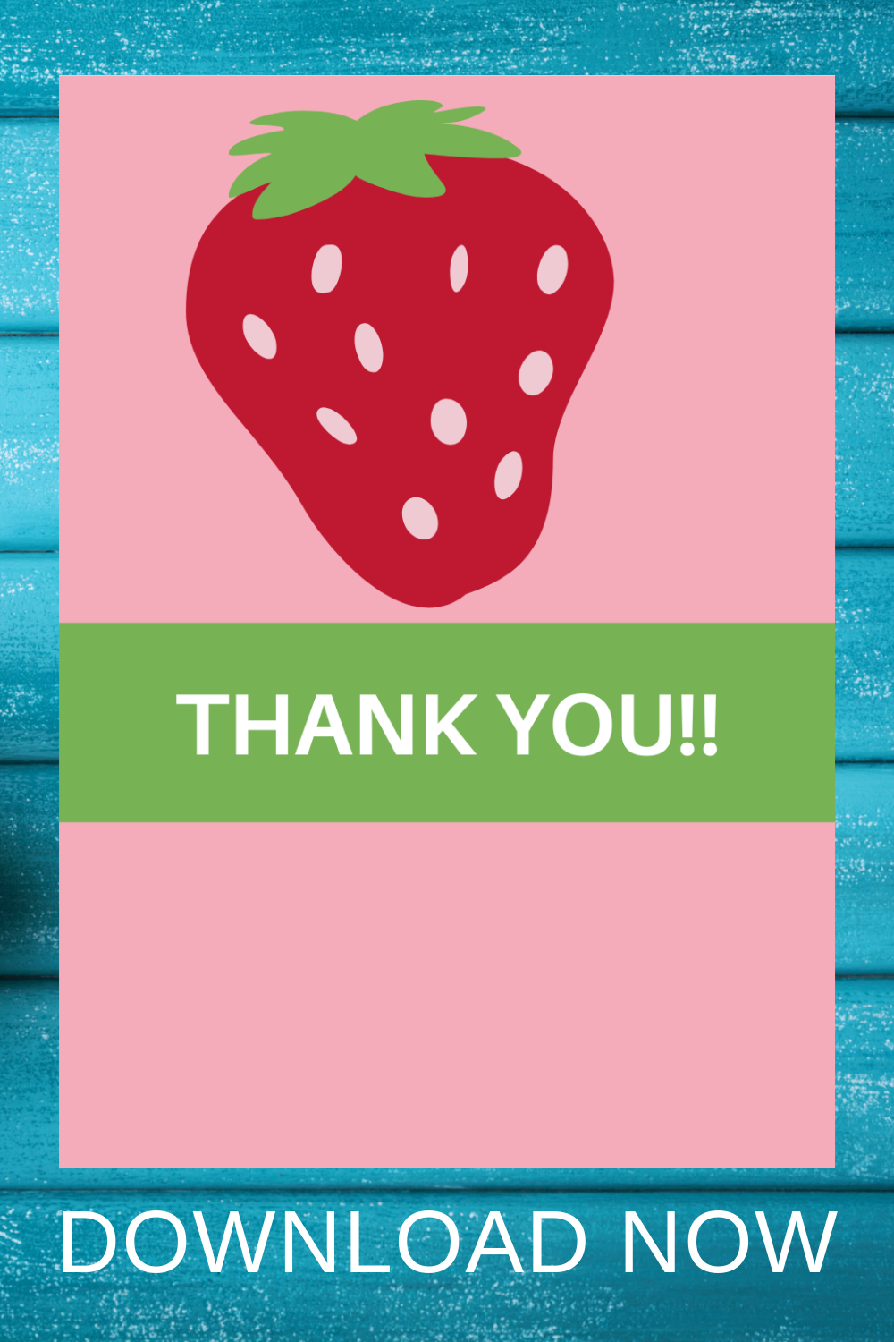 1st birthday girl strawberry themed thank you note