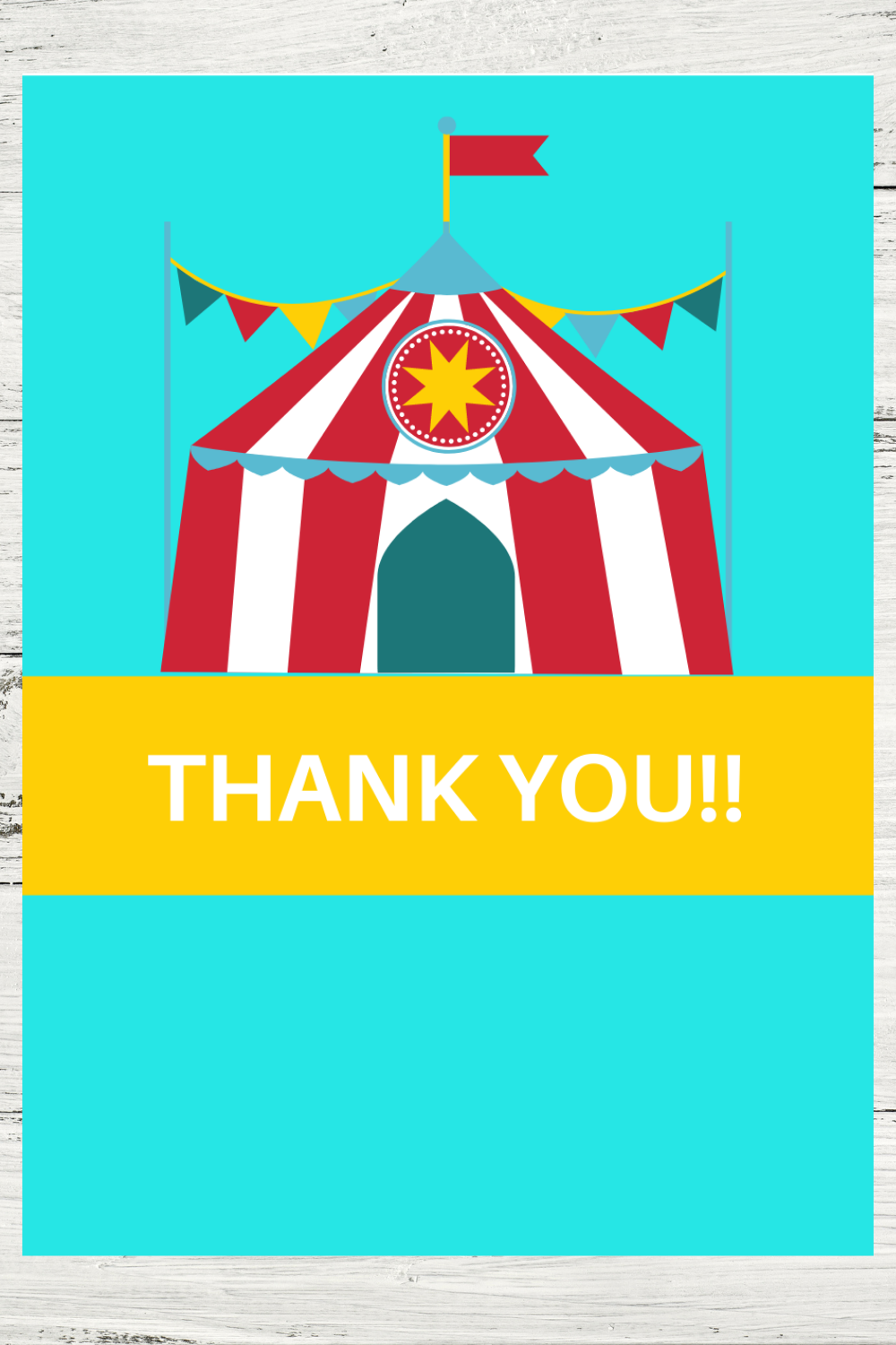 free download: circus tent thank you note for a birthday party