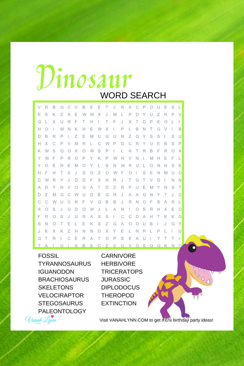 free printable dinosaur word find for preschoolers birthday party