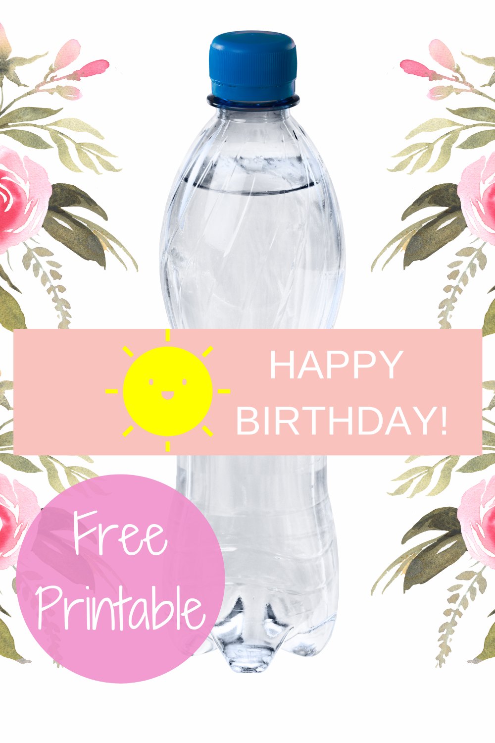 free download: sunshine water bottle label for kids birthday party