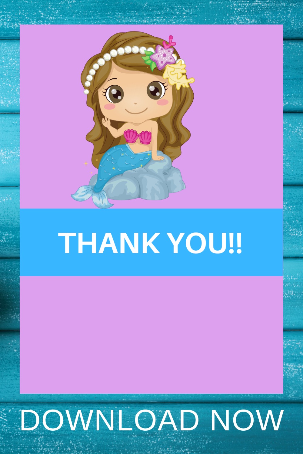 free download: mermaid thank you card for party