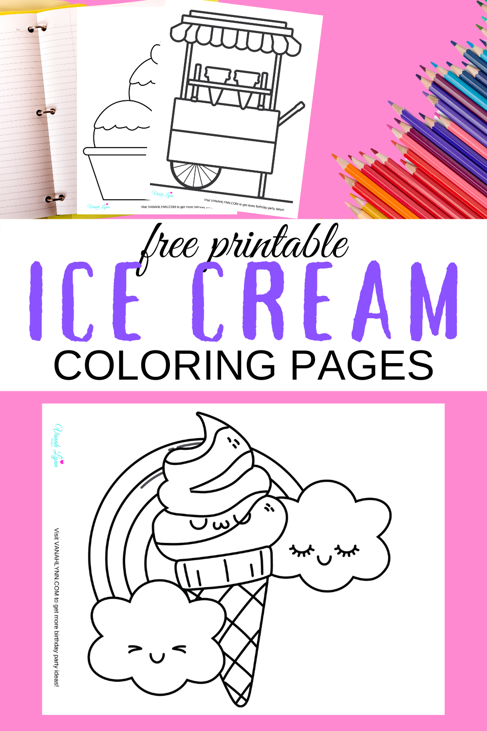 free printable ice cream coloring sheets for a birthday party