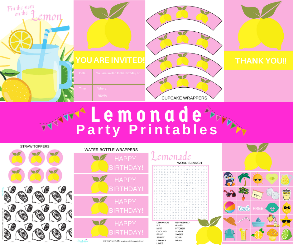 free printable lemonade party kit