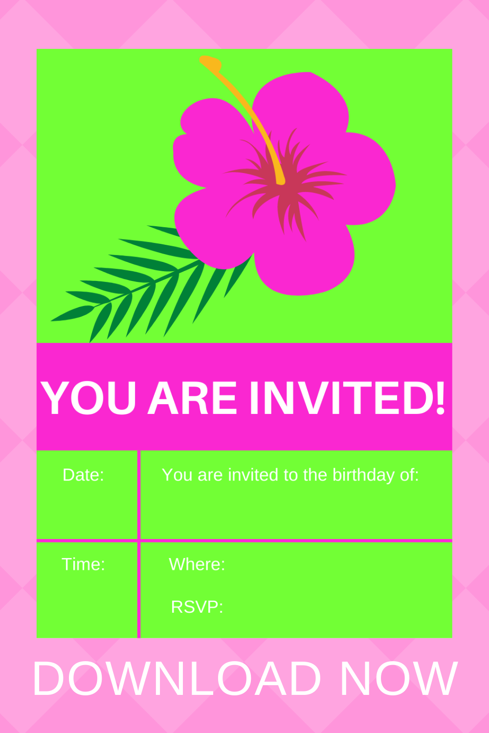 free printable tropical flower invitation for toddlers