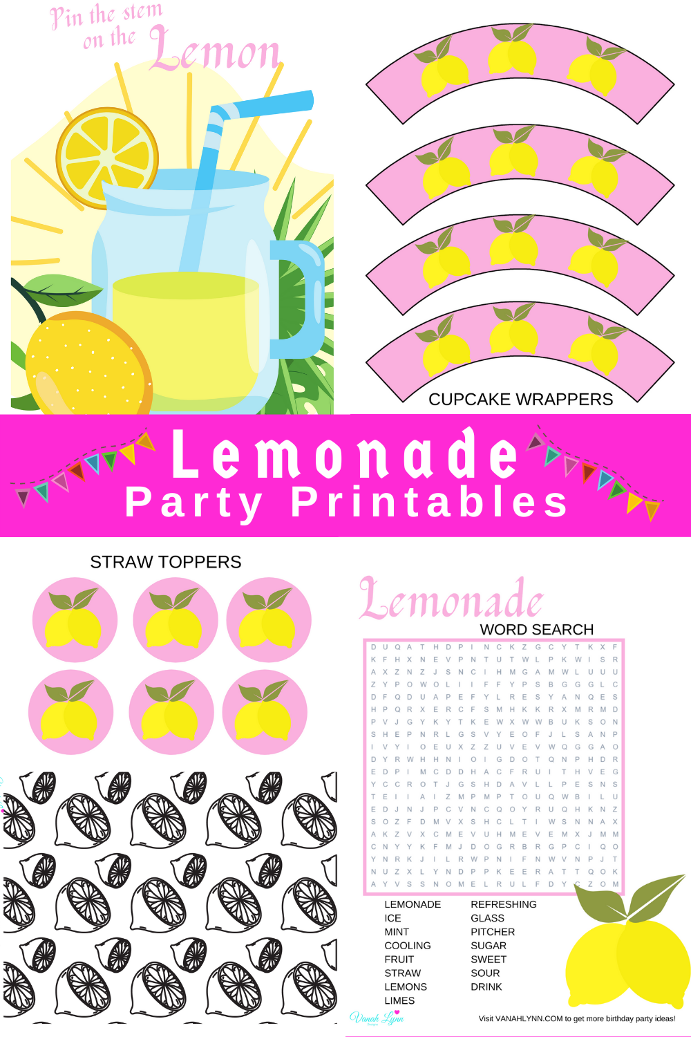 pink and yellow birthday party decorations