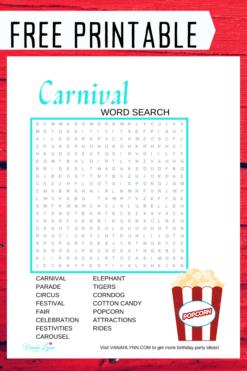 free printable circus word find for little girls birthday party